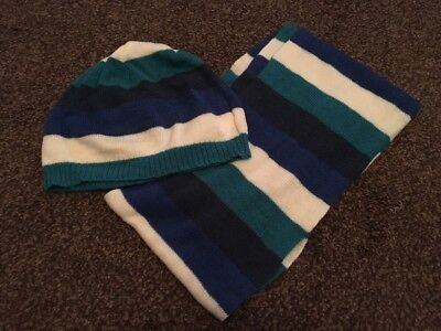 George Boys Blue White Turquoise Striped Hat And Scarf Set Age 4-8 Years