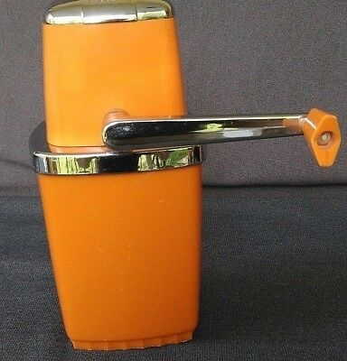 RETRO Vtg MID CENTURY SEARS  Ice Crusher Orange Hand Crank Barware