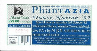 Phantazia - Dance Nation Rave Flyer / Ticket 1992 - N-Joi, Suburban Delay PAs