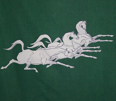 vintage 1950s horses galloping print glazed cotton fabric