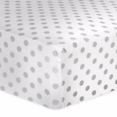 NEW Trend Lab Baby Fitted Crib Flannel Sheet Soft White/Gray Dot Nursery Decor