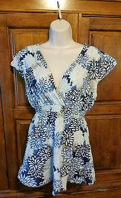 Oh Baby by Motherhood Womens XL Blue Gray Floral V Neck Top