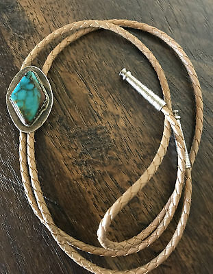Lovely Native American Designer GG Sterling Silver & Turquoise Bolo Tie