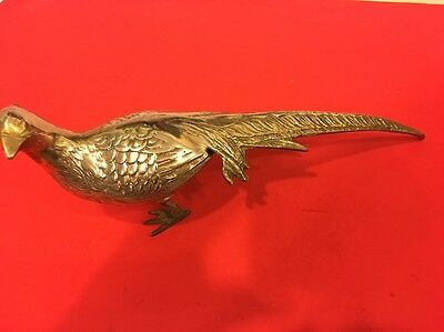 Brass Hen Pheasant Bird With Long Tail 15""