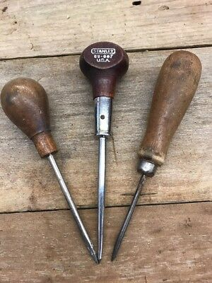 stanley scratch awl Hurwood No 69-007 And Two Unmarked Lot Of 3