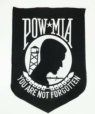 """11"""" POW Back Patch Military Vet Embroidered Motorcycle Biker Leather Vest Jacket"""