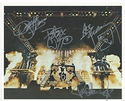 "KISS Hand Signed Autographed 8x10"" Photo w/COA Signed by 4"