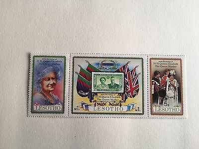 Lesotho Mnh Strip 1980 Queen Mother 80Th Birthday Royalty
