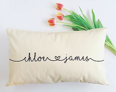 Personalised Cushion Home Bedroom Pillow Wedding Engagement Anniversary Gift