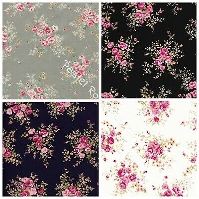 Pink Roses Bunch on Ivory, Black, Navy 100% Cotton Fabric - clothing, craft