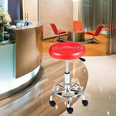 Work Stool With Wheels On Garage Spa Heavy Duty Chair Adjustable Hydraulic Red