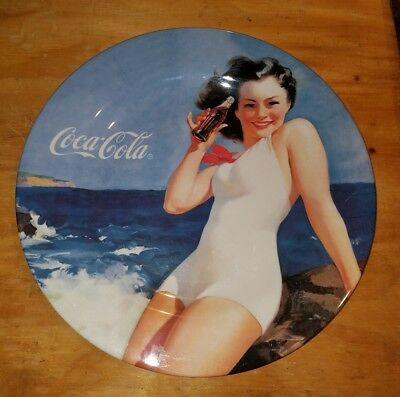 "Coca Cola Bathing Beauty Pin Up Girl -Extra Large Collectible Plate 16""-Coke"