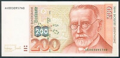 200 Deutsche Mark, 02.01. 1996, Ro. 311 a, Serie AK, with low number, UNC !
