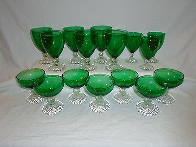 Lot of 16 Anchor Hocking Green Bubble Foot Goblets Water-Wine-Champagne