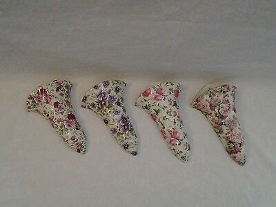 Lot of 4 Chintz Porcelain/China Wall Pockets - gold trim