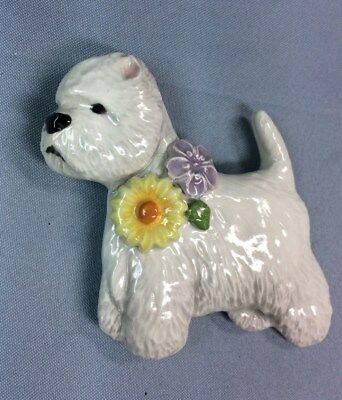 Westie show pose flower magnet ornament ceramic Christmas art sculpture OOAK