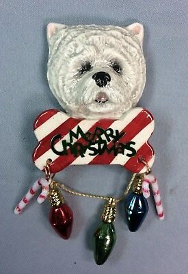 Westie bone candy cane magnet ornament ceramic Christmas art sculpture OOAK