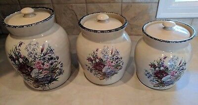 Home and Garden Party Floral Stoneware Canister Set - Three