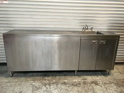 "91"" Stainless Steel Cabinet 1 Compartment Sink Table Tabco #7255 Commercial NSF"