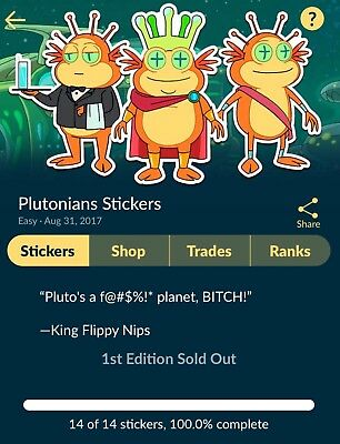 Quidd Rick and Morty - Plutonians Stickers Complete Set 1st Edition Sold Out