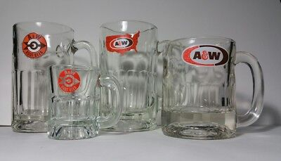 Lot Of Four Vintage A&W Root Beer Mugs/Glasses, Arrow Logo