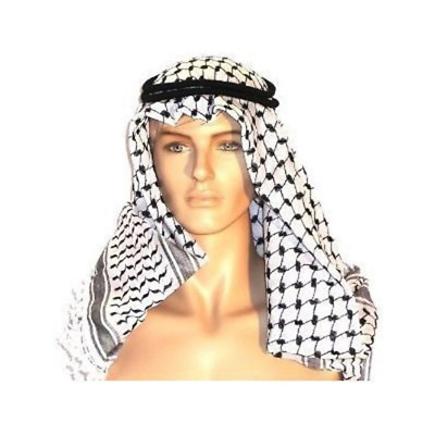 Authentic Middle Eastern Arab Kafiya Keffiyeh w Aqel Rope by Bethlehem Gifts TM