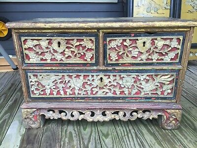 RARE 1860 Straits Qing DYNASTY Red Gold GILT Wedding Chest Chinese HUMMINGBIRDS