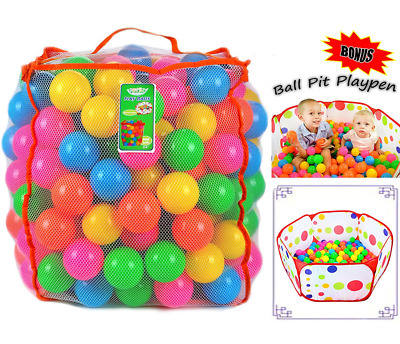 Joyin Toy Pack of 200 Plastic Pit Balls with Foldable Ball Pit Playpen – BPA Fre