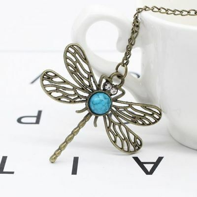 Nature Stone Pendant Long Necklace Chain Vintage Bronze Pretty Dragonfly