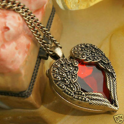 Free Shipping girl Angel wings red heart style necklace Pendant accessories