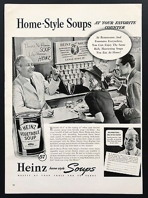 1940 Vintage Print Ad HEINZ Vegetable Soup Counter Cafe Image 40's