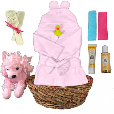 Bath Robe Baby Gift Basket for a Girl Baby Shower - Poodle 10 Piece Gift Set