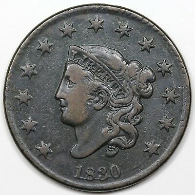 1830 Coronet Head Large Cent, Large Letters, VF detail