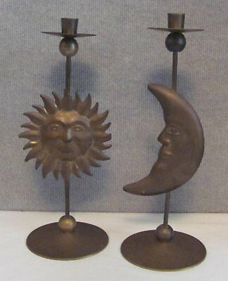 Lot of 2VINTAGE BRASS CANDLE STICK HOLDERS- MADE IN INDIA 1 Sun 1 Moon