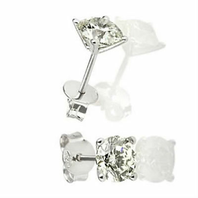 0.8 Carat Authentic Solitaire Round Diamond 18K White Gold Wedding Stud Earrings