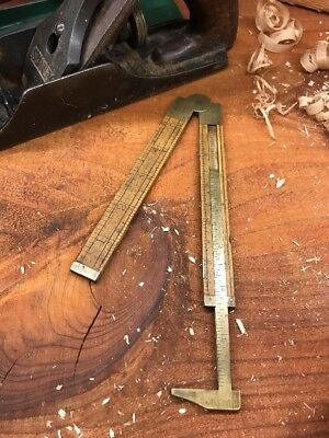Stanley Boxwood Folding Ruler No 36 1/2 With Brass Inlay Caliper
