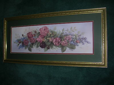 """Painted And Framed Picture Of Roses 14"""" X 30"""" Signed Glynda Turley 1990"""