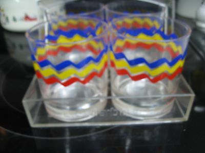Liz Claiborne Set of 4 Plastic Drinking  Red Blue Yellow Glasses w/ Tray/Holder