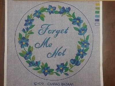 Vintage from 1979 painted Forget Me Not needlepoint canvas 12 inch circle