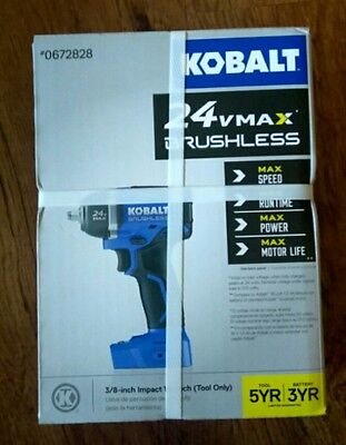 "NEW Kobalt 0672828 24V Max Brushless Cordless 3/8"" Drive Impact Wrench Bare Tool"