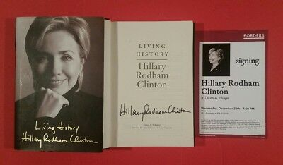 """Hillary Rodham Clinton Full Name Signed """"Living History"""" Hardcover Book --- Bill"""