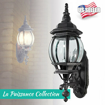 "19"" x 10"" Matte Black Exterior Outdoor Wall Lantern Light Fixture Beveled Glass"