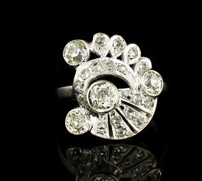 ART DECO VINTAGE OLD EUROPEAN CUT NATURAL 1.83ctw DIAMOND 14K WHITE GOLD RING