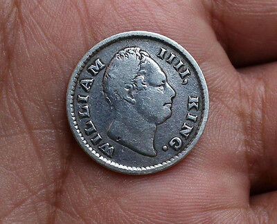 "British India 1835 William 1/4 Rupee ""F"" Incuse Rare"