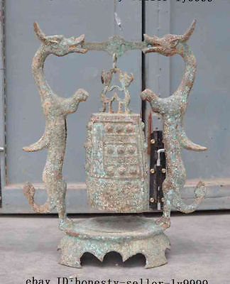 "20""A Old Chinese Buddhism Temple Bronze Dragon phoenix Handle Hanging Clock Bell"