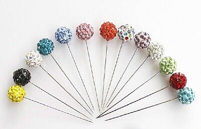 Set of 3 Hijab Pin Stick Rhinestone Balls Multiple Colors  Rhinestone Scarf Pin