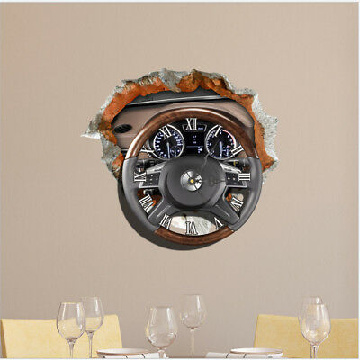 Creative 3D Steering Wheel Shape Wall Clock Stickers Art Decals Home Decor T