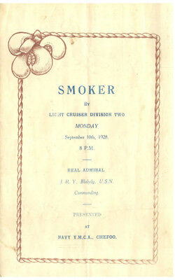 Light Cruiser Div. Two Smoker Program September 10th, 1928, Chefoo, China