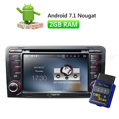 Android 7.1 2GB Car Bluetooth Stereo GPS DVD Navigation B For Audi A3/S3 +OBD-ll