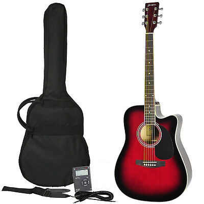 New Sanchez Acoustic-Electric Dreadnought Cutaway Guitar Beginner Pack (Red)